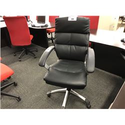 BLACK LEATHER TUFTED MID BACK EXECUTIVE CHAIR