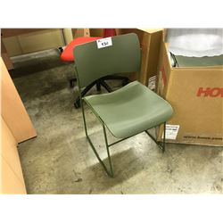 LOT OF 12 HOWE GREEN MODEL 40-4 COMMERCIAL GRADE METAL FRAME STACKING CONVENTION CHAIRS