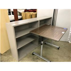 2 42  BOOKCASES AND ONE ADJUSTABLE HEIGHT TABLE