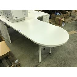 LARGE LOT OF STEELCASE OFFICE DESKS AND MISC. OFFICE FURNITURE