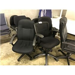 8 OFFICE CHAIRS AND 7 BLUE STACKING CHAIRS