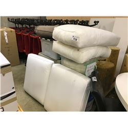 LOT OF LOUNGE SEAT COVERS AND CUSHIONS