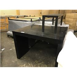 3 BLACK DISPLAY TABLES AND ONE COFFEE TABLE