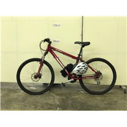 RED NORCO SCRAMBLER FRONT SUSPENSION MOUNTAIN BIKE WITH FRONT AND REAR DISC BRAKES