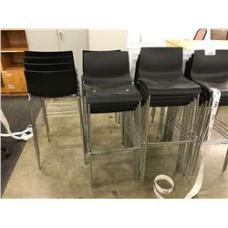 BLACK CHROME FRAMED BAR STOOL