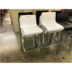 WHITE CHROME FRAMED BAR STOOL