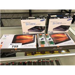 ELECTRONICS INC. 2 HIPSTREET 8 GB TABLETS, 2 SAMSUNG EXTERNAL DVD WRITERS, AND RAM STICKS
