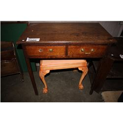 WOOD DESK AND PINK PADDED PIANO BENCH