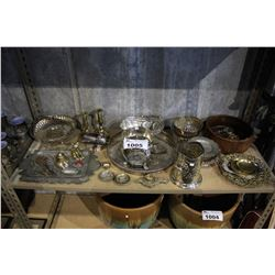 SHELF INCLUDING TRAYS, KNICK KNACKS, BOWLS, AND MORE - SOME STERLING SILVER