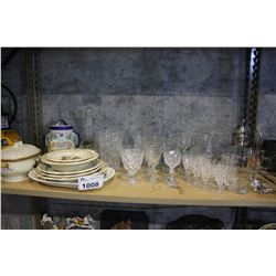 SHELF INCLUDING DISHWARE, CRYSTAL, DECANTER, AND MORE