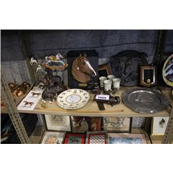 SHELF INCLUDING HORSE COLLECTABLES, PLATES, RIDING CROP, AND MORE