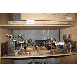SHELF OF HORSE RIDING TROPHIES INCLUDING STERLING SILVER TROPHY DATED 1878