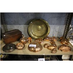 SHELF OF COPPERWARE, WOOD BOX, AND MORE