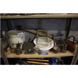 SHELF INCLUDING CROCK, SCALE, ADVERTISEMENT SIGNS, AND MORE
