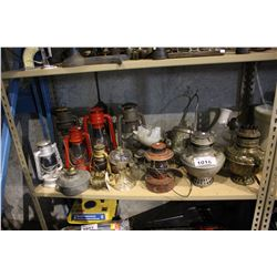 SHELF INCLUDING VINTAGE OIL LAMPS AND MORE