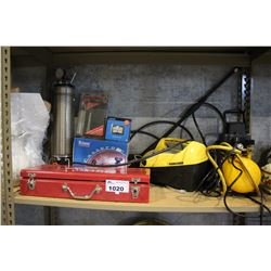 SHELF INCLUDING TOOL BOX WITH CONTENTS, KARCHER PRESSURE WASHER, POWER FIST AIR COMPRESSOR, AND