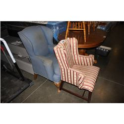 2 ANTIQUE UPHOLSTERED OCCASIONAL CHAIRS