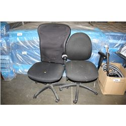 2 BLACK PADDED ROLLING OFFICE CHAIRS