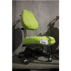 GREEN PADDED ROLLING CHAIR WITH SLIPCOVER