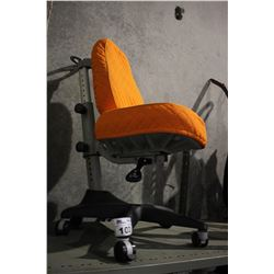 ORANGE PADDED ROLLING CHAIR WITH SLIPCOVER