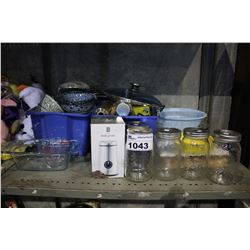 SHELF INCLUDING DISHWARE, JARS, COFFEE GRINDER, AND MORE