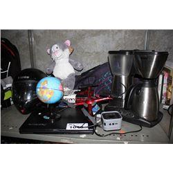 SHELF INCLUDING LENOVO LAPTOP, KENMORE COFFEE MAKER, STUFFED ANIMAL, HELMET, AND MORE