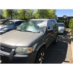 2004 FORD ESCAPE, 4DR SUV, GREY, VIN # 1FMYU92124KA14974