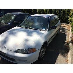 1995 HONDA CIVIC CX, 2DR HATCHBACK, WHITE, VIN # 2HGEH2441SH005229
