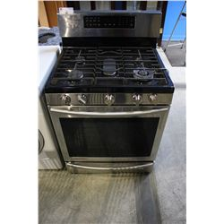 STAINLESS STEEL SAMSUNG GAS-TOP STOVE (MISSING BURNER TOP)
