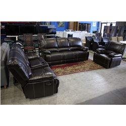 BROWN RECLINING SOFA SET WITH SOFA, LOVESEAT AND ARMCHAIR!