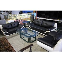 BLACK/WHITE MODERN SOFA SET INCLUDING SOFA, LOVESEAT AND ARMCHAIR
