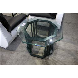 OCTAGONAL GLASS & METAL SIDE TABLE