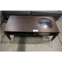 MODERN WOOD COFFEE TABLE WITH ROUND GLASS PANEL