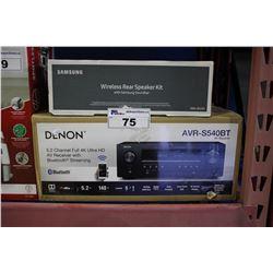 DENON 5.2 CHANNEL FULL 4K ULTRA HD AV RECEIVER AND SAMSUNG WIRELESS REAR SPEAKER KIT
