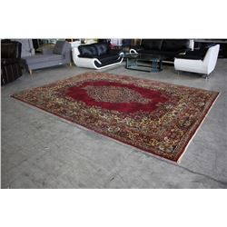 RED FLORAL PATTERNED AREA RUG - 8'6 X 11'7