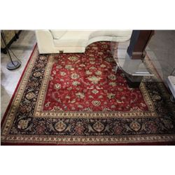 RED PATTERNED AREA RUG - 8'3 X 11'7
