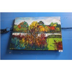 LARGE CANVAS PRINT - REEDS BY THE WATERSIDE SIGNED CERDA, BOTTOM LEFT