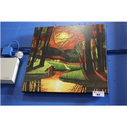 CANVAS PRINT - SUNSET SILHOUETTES SIGNED DAVID JAMES '10, BOTTOM RIGHT