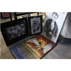 LOT OF ARTWORK (LED ZEPPELIN, 2 PAC, JAMES DEAN AND FOOTBALL)