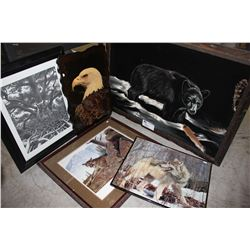 LOT OF NATURE ARTWORK INCLUDING DUCKS UNLIMITED WINNER (COUGAR), FABRIC BEAR PAINTING, AND MORE