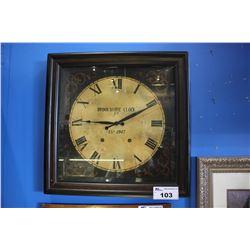 FRAMED BROOKSHIRE CLOCK CO. EST 1947 WALL CLOCK