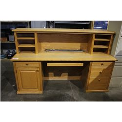 6.5' OAK OFFICE DESK WITH 4 DRAWERS & CABINET