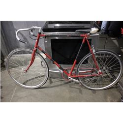 RED 5-SPEED ROAD BICYCLE WITH SHIMANO BACK BRAKES