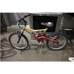 GOLD/RED INFINITY VIBE DUAL SUSPENSION 6-SPEED CHILDREN'S MOUNTAIN BICYCLE