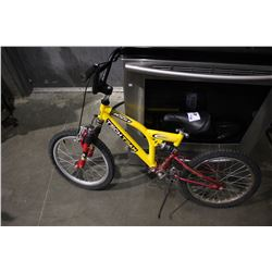 YELLOW TECHTEAM SR20 DUAL-SUSPENSION CHILDREN'S BMX BICYCLE