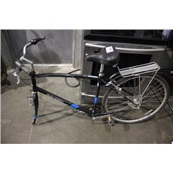 BLACK RALEIGH DETOUR 6-SPEED BICYCLE - MISSING FRONT TIRE