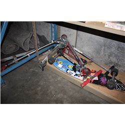 LOT INCLUDING ASSORTED SCOOTERS AND LONGBOARD