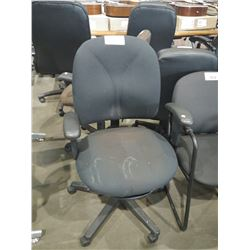 BLACK FABRIC ADJUSTABLE ROLLING OFFICE CHAIR