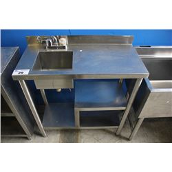"34"" STAINLESS STEEL COMMERCIAL SINK WITH FAUCET AND SHELVES"