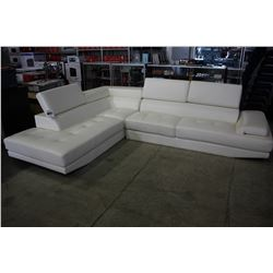 WHITE PELLISSIMA SECTIONAL SOFA WITH ADJUSTABLE HEADRESTS